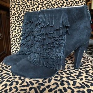 Banana Republic black suede fringe booties